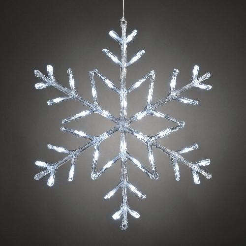 Konstsmide led acryl motiv schneeflocke 60 cm led wei for Weihnachtsbeleuchtung mit batterie und timer