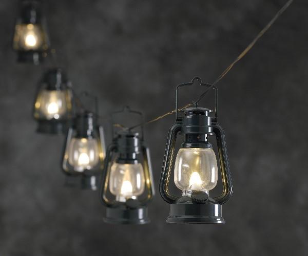 konstsmide led lichterkette mit 8 gr nen sturmlaternen led warmweiss aussenbereich. Black Bedroom Furniture Sets. Home Design Ideas